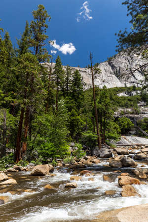 muir: View of Yosemite National Park from Mist Trail and John Muir Trail, California, USA.