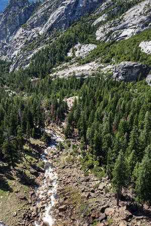 john muir trail: View of Yosemite National Park from Mist Trail and John Muir Trail, California, USA.