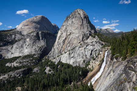 john muir trail: Nevada Fall and Liberty Cap in Yosemite National Park, California, USA.