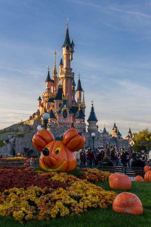 Disneyland Paris Castle during Halloween Celebrations Editorial