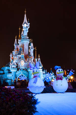 disneyland paris castle during christmas celebrations stock photo 44619851
