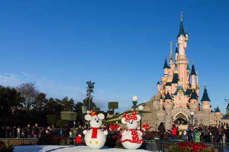 Disneyland Paris Castle during Christmas Celebrations Editorial