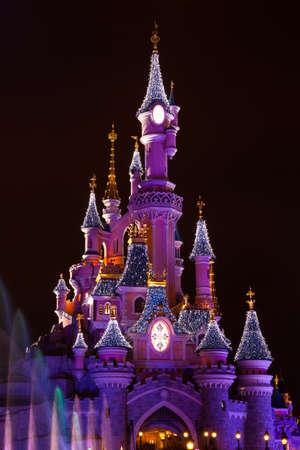 Disneyland Paris Castle during Christmas Celebrations Editoriali