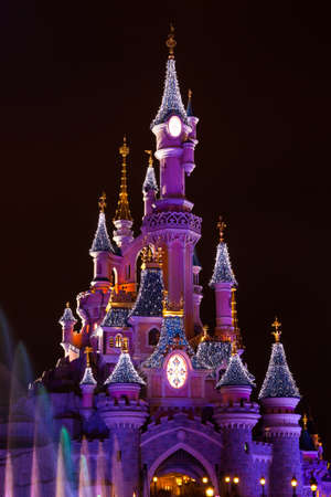 mickey: Disneyland Paris Castle during Christmas Celebrations Editorial