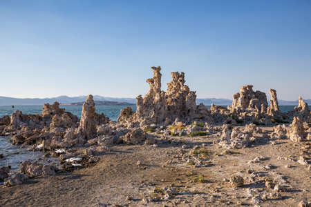 lee vining: Mono Lake with tufa rock at sunset in Mono County, California, USA