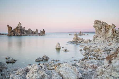 Mono Lake with tufa rock at sunset in Mono County, California, USA