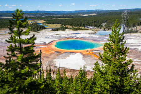 hot spring: Grand Prismatic Spring in Yellowstone National Park, USA Stock Photo