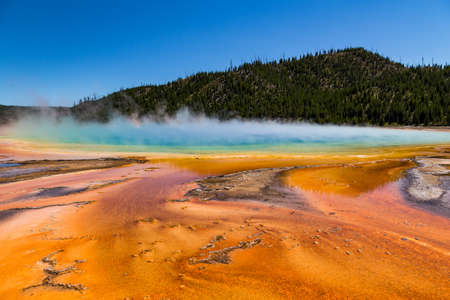 midway: Grand Prismatic Spring in Yellowstone National Park, USA Stock Photo