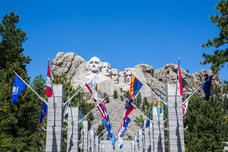theodore roosevelt: MOUNT RUSHMORE, SOUTH DAKOTA - AUGUST 1: View of The Grand Terrace and Mount Rushmore on August 1, 2015 in South Dakota, USA. Mount Rushmore is the American National Memorial.
