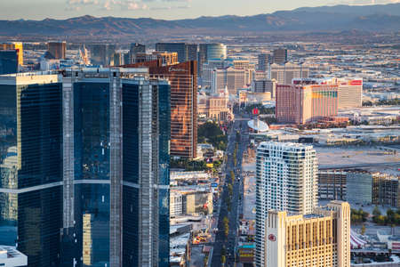 LAS VEGAS, NV - AUGUST 12: View of Las Vegas from Stratosphere Tower on August 12, 2015 in Las Vegas, USA. Las Vegas is one of the top tourist destinations in the world.