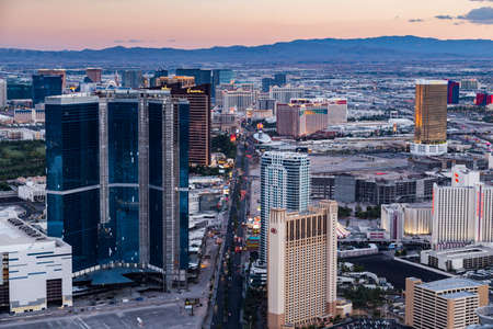 LAS VEGAS, NV - AUGUST 12: View of Las Vegas from Stratosphere Tower at dusk on August 12, 2015 in Las Vegas, USA. Las Vegas is one of the top tourist destinations in the world. Editoriali