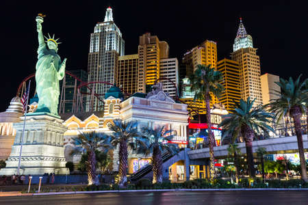 new york strip: LAS VEGAS, NV - AUGUST 12: View of New York-New York hotel and casino at night on August 12, 2015 in Las Vegas, USA. New York-New York is located on the famous Las Vegas Strip. Editorial