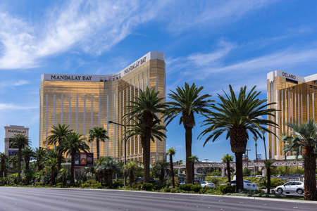 LAS VEGAS, NV - AUGUST 12: View of Mandalay Bay Resort and Casino hotel on August 12, 2015 in Las Vegas, USA. The Mandalay Bay is located on the famous Las Vegas Strip.