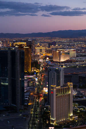 LAS VEGAS, NV - AUGUST 12: View of Las Vegas from Stratosphere Tower at night on August 12, 2015 in Las Vegas, USA. Las Vegas is one of the top tourist destinations in the world.