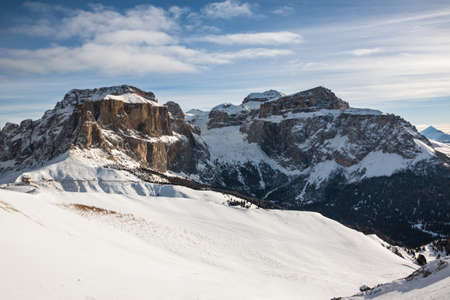 Sass Pordoi (in the Sella Group) with snow in the Italian Dolomites
