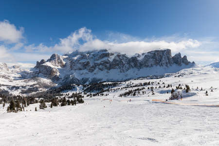 sella: View of the Sella Group with snow in the Italian Dolomites from the ski area