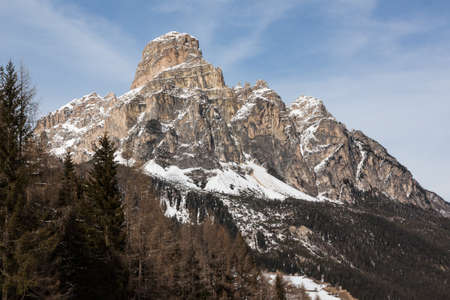 odle: View of the Sassongher with snow in the Italian Dolomites