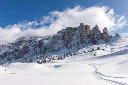 sella: View of the Sella Group with snow in the Italian Dolomites