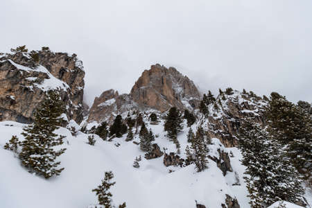 ski area: The Sassolungo (Langkofel) Group of the Italian Dolomites in Winter