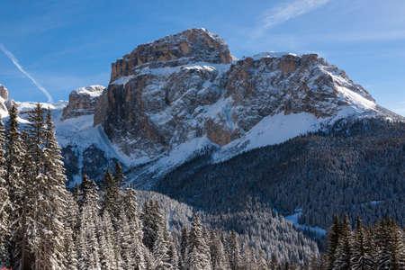 sella: Sass Pordoi (in the Sella Group) with snow in the Italian Dolomites