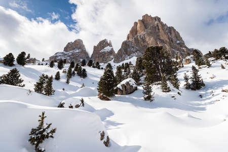 The Sassolungo (Langkofel) Group of the Italian Dolomites in Winter
