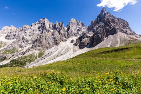 alpenglow: View of Pale di San Martino, Italian Dolomites in Trentino