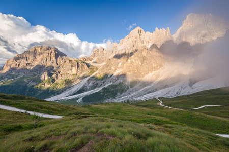 The Pale di San Martino peaks (Italian Dolomites) at sunset Stock Photo