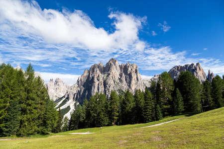 alpenglow: View of the Rosengarten (Catinaccio) in summer, in the Italian Dolomites Stock Photo