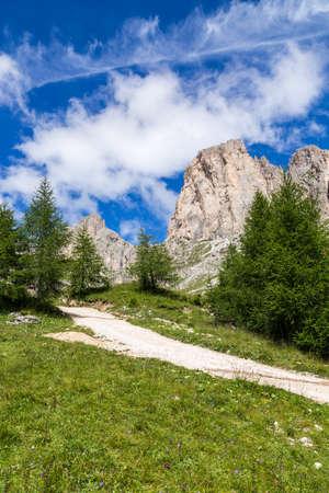 View of the Roda di Va�l (Rosengarten group) in the Italian Dolomites