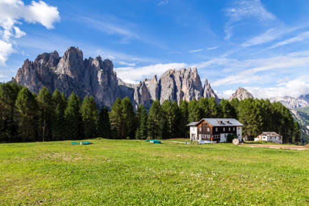 View of the Rosengarten (Catinaccio) in summer, in the Italian Dolomites Stock Photo