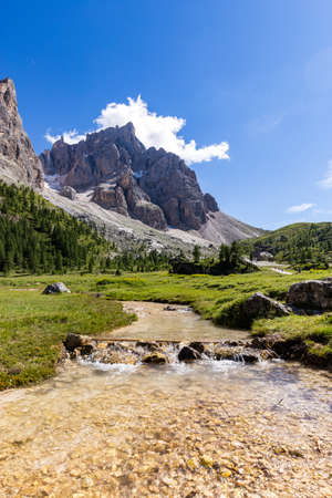 View of Cimon della Pala, the best-know peak of the Pale di San Martino Group in the Dolomites, northern Italy.