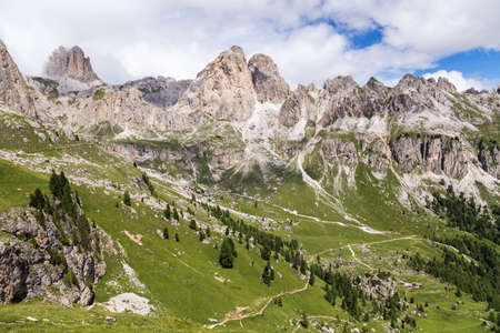 View of the Roda di Vael (Rosengarten group) in the Italian Dolomites Stock Photo