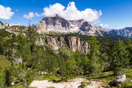 View of Tofane, a mountain group in the Dolomites of northern Italy, west of Cortina dAmpezzo in the province of Belluno, Veneto.