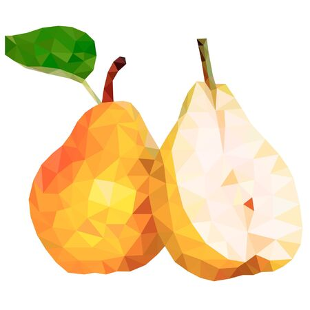 Pear in style, low poly on white background illustration.