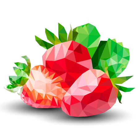 Strawberry Low Poly Vector illustration isolated on white background.