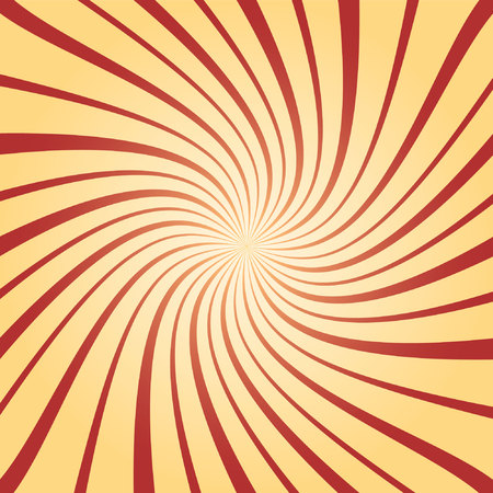 Sunburst twisted red and yellow in retro style illustration.