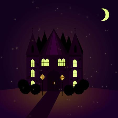 Building in night illustration.