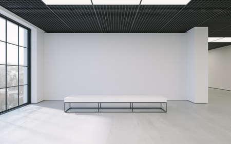 Moderne leeren minimalistische Interieur der Ausstellung mit sauberen Wänden. Loft-Design, Kunstgalerie oder einem Museum. 3D-Rendering Standard-Bild - 67249965