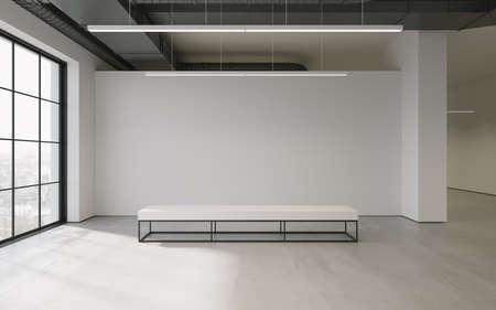 Minimalistisch wohnzimmer beige sessel u stockfoto