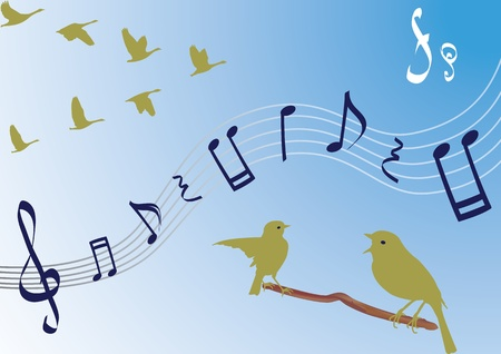 Vector risunoy stave with notes and treble clef on a background of the sky, surrounded by birds Vector