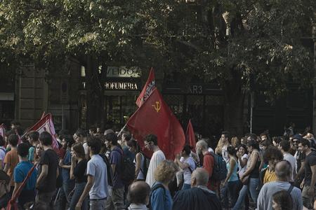 political rally: Anti-Fascist political rally - Milan, October 18, 2014