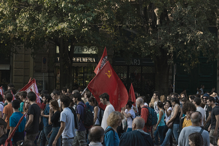 anti fascist: anti-fascist demonstration of the social centers in Milan on the occasion of the event Stop Invasion, organized by the Northern League