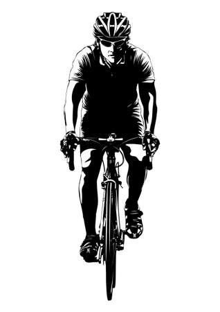 andando en bicicleta: Ciclismo Vectores
