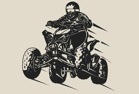 Jinete todoterreno en salto de casco Ilustración de vector