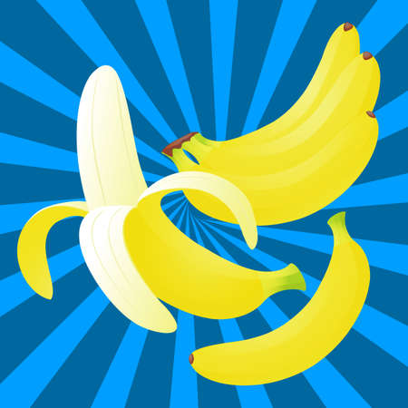 eating banana: Delicious fruit bananas on a blue background close-up
