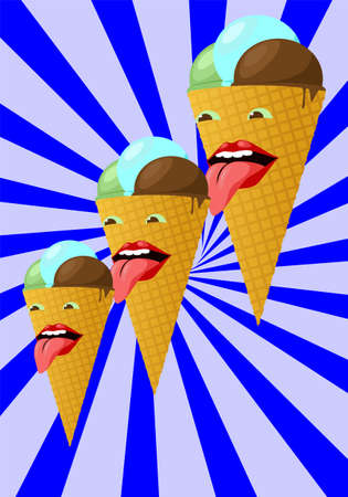 lick: Three smiling colorful ice cream cone on a striped background.