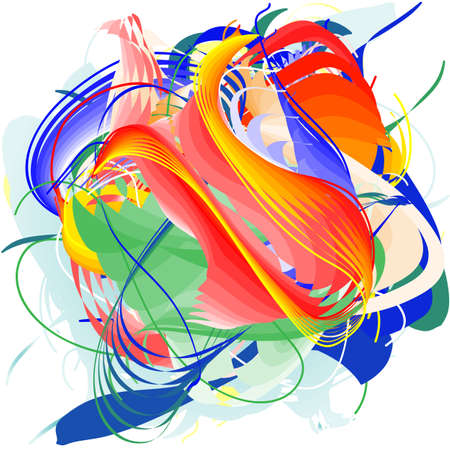 intertwined: green  yellow orange red and blue lines intertwined Illustration