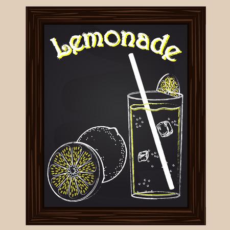 Lemonade in a glass with lemon drawn in chalk