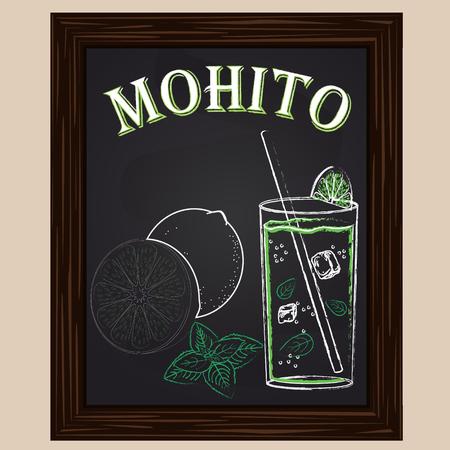 mohito: cold mojito with mint drawn in chalk Illustration