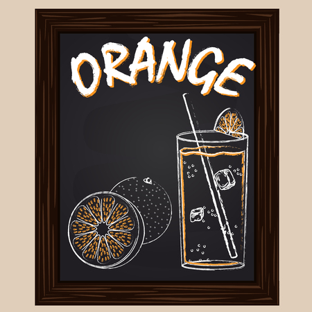 orange juice: fresh orange juice and orange drawn in chalk